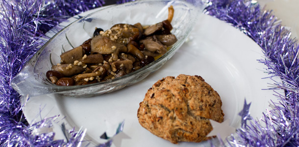 Herby Bread with Garlic Mushrooms