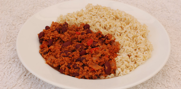 Soya Mince Chilli and Rice