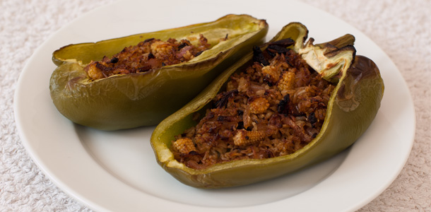 Hot & Spicy Roasted Stuffed Peppers